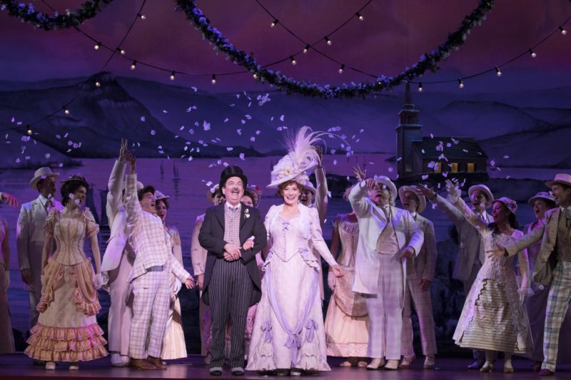 Betty Buckley as Dolly and Lewis J. Stadlen as Horace come out on stage, dressed as bride and groom, for the final bow.