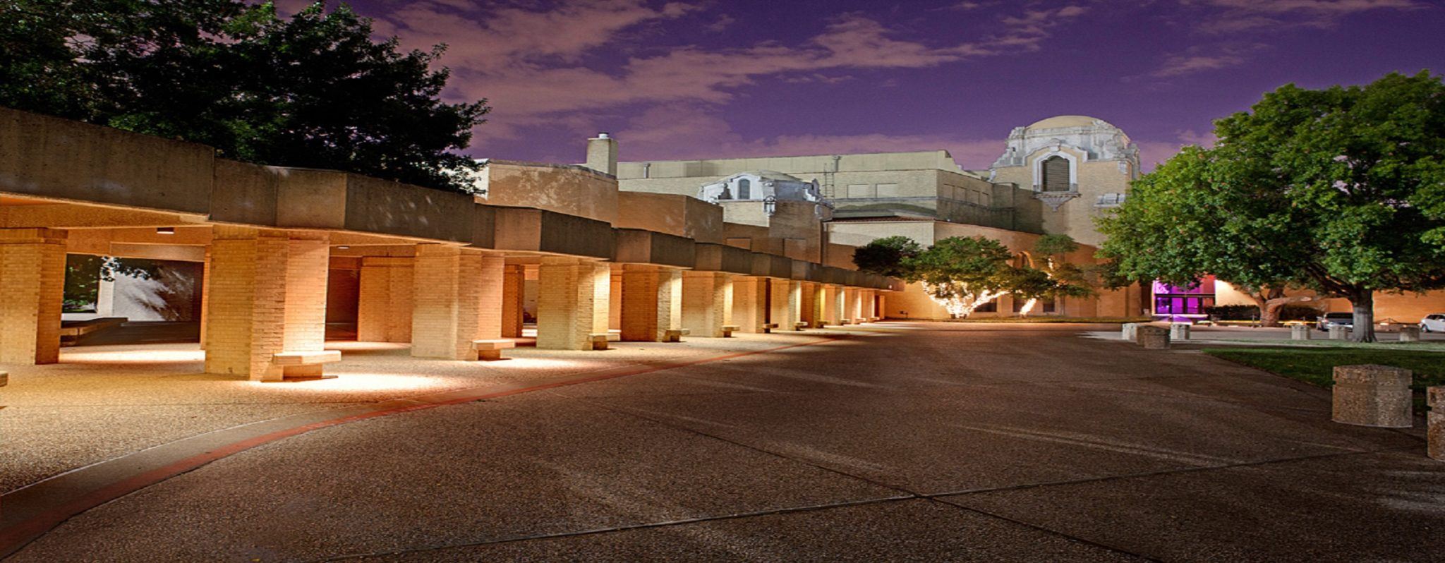 View of Music Hall at Fair Park at night